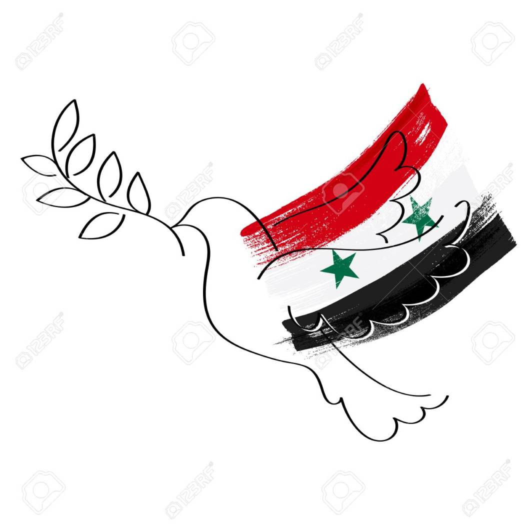 Dove and flag of Syria vector illustration.